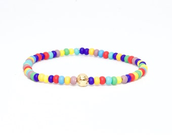 Beaded Bracelet in 18K Solid Yellow Gold - Beach Boho Stretch Cord - Glass Colorful Rainbow Multicolour - Men Women Unisex Gift Him Her