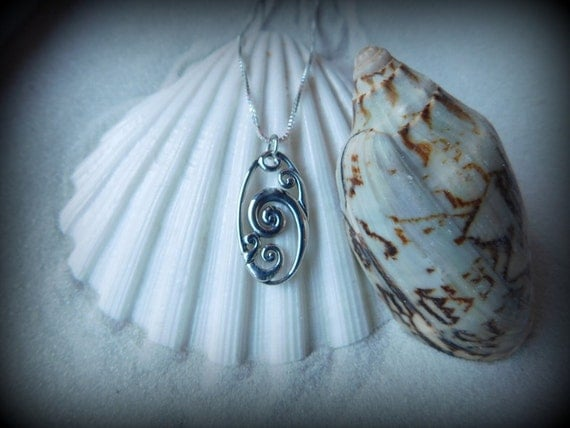 Sterling silver ocean wave necklace,  ocean theme, sea life jewelry, ocean surf culture