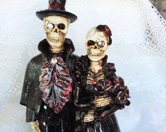 Wedding Cake Toppers-Skeleton Bride/Groom-Wedding Decorations-Hand Painted Burgundy&Gold-Wedding Centerpiece-Skull Wedding Couple-Halloween