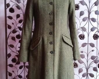 70s green woolen tweed coat Granny coat EU36 UK8 US6