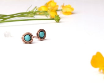 turquoise stud earrings turquoise earrings boho copper stud earrings december gift for her modern minimal beaded rustic turquoise jewelry
