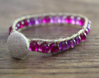 Purple Beaded Hemp Bracelet