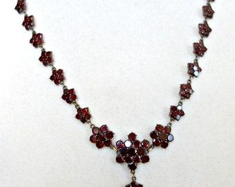 Victorian Bohemian Garnet Necklace, Antique bohemian Garnet Necklace, Rose Cut Garnets.Antique Garnets
