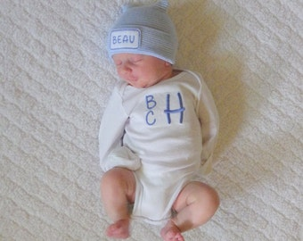 Baby Boy Coming Home Outfit. Newborn Boy Clothing. Monogram Bodysuit. Hospital Hat