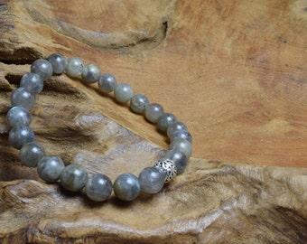 Labradorite bracelet, Labradorite beads, Gemstone beads, Sterling silver bead, Silver bracelet, Labradorite jewelry, Olive green bracelet