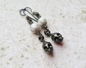 Black Skull Earrings, Biker Chick Rockabilly Jewelry, Hypoallergenic Punk Goth Earrings