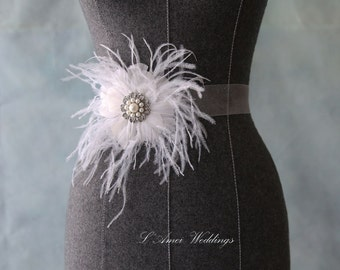 Handcrafted Feathers Flower Pearl Rhinestone center Wedding Bridal Sash Belt