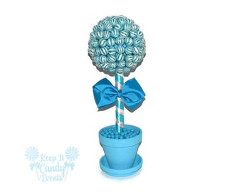 Blue Lollipop Topiary, Blue Candy Topiary, Blue Wedding Centerpiece, Blue Wedding Candy Buffet Centerpiece, Blue Candy Table, Candy Bar
