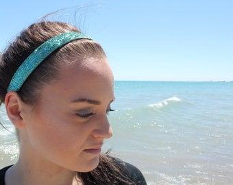 Headbands for Women - Turquoise Headband Womens Headbands - Glitter Headband Adult - Non Slip Headband Gift for Her - Headbands for Girls