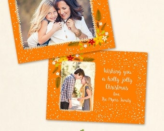 INSTANT DOWNLOAD 5x7 Christmas Card Photoshop Template - CA598