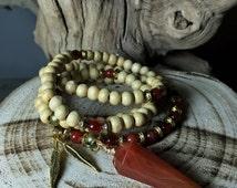 Unisex Mala Beads with CARNELIAN Pendulum   Wood Mala Necklace for Crystal Healing, Japa Mala, Meditation Yoga Prayer Rosary   Mayan Rose
