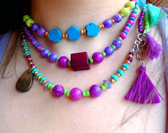 Long beaded bohemian Layering necklace / wrap bracelet, colorful ethnic, tribal boho necklace, purple, lime green chunky statement necklace