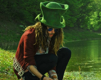 Festival top hat, alice in wonderland hat, boyfriend gift ideas birthday present, goa fashion, green costume party, hippie clothing men