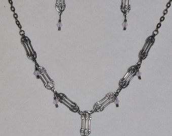 Necklace and Earrings Set Antiqued Silver   #455