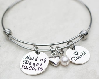 Personalized Wedding Custom Maid of Honor Jewelry, Maid of Honor Gift, Bridesmaids, Personalized Bracelet for Bridesmaids Maid of Honor
