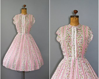 1950's Pink Floral Dress • Nelly Don Dress • 50's Cotton Day Dress
