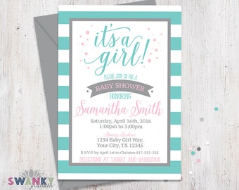 Teal and Gray Baby Shower Invitations, Pink and Gray It's a Girl, Teal Striped Shower Invitation, Girl Baby Shower Invitation, Pink and Gray