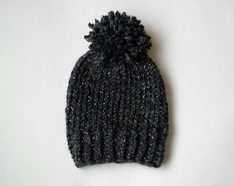Chunky Knit Pom Pom Slouchy Beanie Hat Charcoal Gray Sparkle