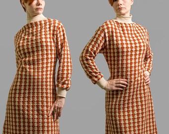 Dress, knitted dress with turtleneck, dress wool, silk, 60s dress, knitt dress beige, terracotta, autumn, winter dress, Made to order,Boho