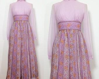 1960s 1970s Maxi Gown / Trippy Vintage Gown / Vintage Maxi Dress