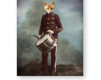 "Red Fox Art Print Animal Art Woodland Nursery Decor Animals In Clothes Archival Fine Art Print (3 Sizes Available) ""Woodland Drummer Boy"""