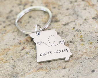 Custom State Keychain - Missouri Keychain Stainless Steel - Going Away Gift - Long Distance Relationship Gift Personalized Message