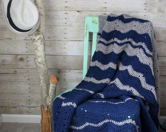Navy and Gray Shadow Blanket