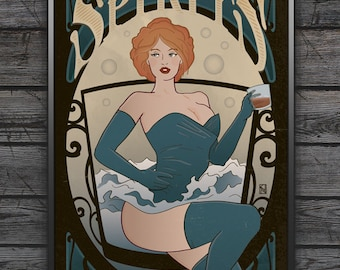 Spirits - Art Print - Whiskey Vodka Gin Rum Bourbon Tequila Brandy Hard Liquor Bar Man Cave Red head Poster Art Nouveau Wall Art Gift Woman