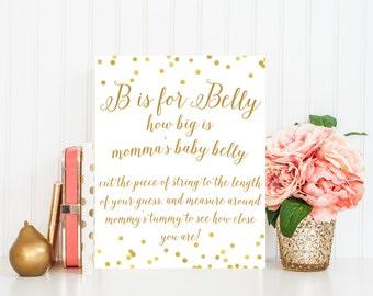 Belly Measuring Game Sign Printable, Printable Baby Shower Game, Baby Shower Sign,  Gold Baby Shower Printable, Baby Shower Decor BAS1