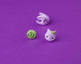 Purple Zombie Cat Earring | Green Brain stud | Handmade & Handpainted | Transylvania Collection