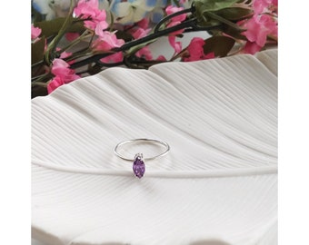 Mother's Ring - Purple - Sterling Silver - Marquise Setting, stone ring, gemstone ring, stackers, stacking rings, elegant rings