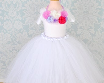 Girls Tutu Skirt,Tutu Skirt,Tutu Skirt For Girl,Childrens Tutu,Flower Girl Skirt,White Tutu Skirt,Long Tutu,Tulle Skirt,Flower Girl Dress