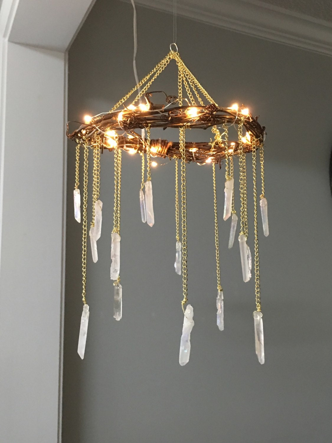 Bohemian Home Decor springtime bohemian home decor pastel bohemian springtime boho home decorations bohemian easter Crystal Mobile Crystal Point Bohemian Mobile Quartz Point Crystal Chandelier Rustic Lighted Chandelier