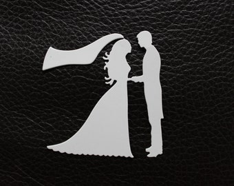 Bride and Groom Die Cut Embellishment for Scrapbooking, Card Making, Wedding,