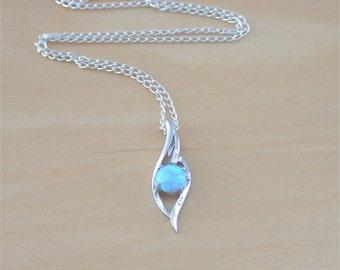 "925 Blue Opal Pendant & 18"" Silver Chain/Blue Opal Necklace/Blue Opal Jewelry/Opal Jewellery/Opal Jewelery/October Birthstone/Wave Pendant"