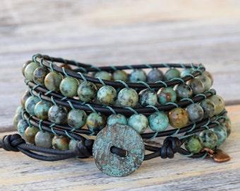 African Turquoise Wrap Bracelet, Wrap Bracelet, Turquoise Bracelet, Rustic Copper Button, Beaded Leather Wrap Bracelet