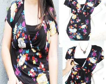 Kimono SS Maternity Clothing/ Nursing Top Breastfeeding Shirt/ Nursing Clothes NEW Original Design Floral Shirt Pregnancy Clothes