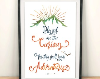 Printable Kids Gift - Curiosity Quote Art Print - Art for Kids - Life is an Adventure - Be Curious Typography Print - Gift for Children
