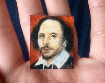 Mini William Shakespeare Portrait Painting, Framed