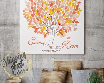 Wedding Tree Guest Book   Wedding Guest Book Tree   Personalized Wedding Print   50-300 Guests   Canvas or Flat Print   coral yellow Wedding