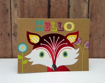 Fox Greeting Card, Hello Greeting Card, Just Because Greeting Card, Thinking of You Card, Fox Hello Card, Cute Greeting Card
