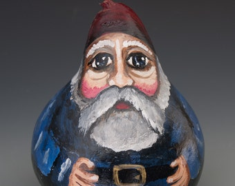 Gnome hand painted gourd art