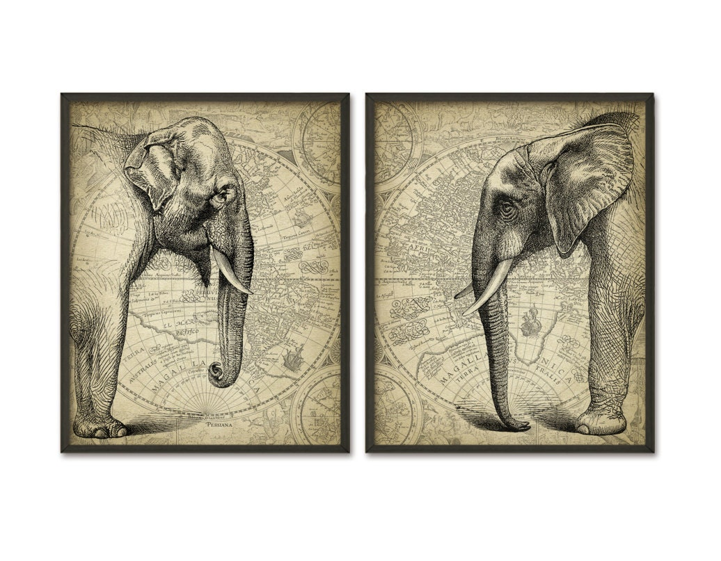 Elephant wall art poster set of 2 african and indian African elephant home decor