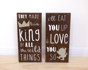 Where the Wild Things Are Baby Shower, Wild One Birthday, I'll Eat You Up I Love You So, King of all Wild Things, Set of 2 Nursery Signs
