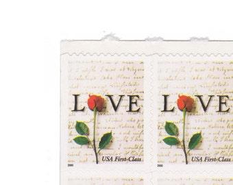 2000 Love Postage Stamp - Unused 34c US Stamps - Block of 10 - Item No. 3496