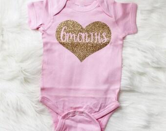 6 Months Old Baby Clothes, Six months Baby Bodysuit, Happy 6 months, Baby Birthday Glittery Onepiece, Newborn Birthday Shirt #72