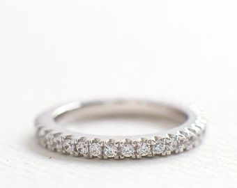 2.5mm Full Eternity Wedding Ring - CZ Diamond Band - Thin Wedding Band - Sterling Silver Stacking Ring - Micro Pave Engagement Ring