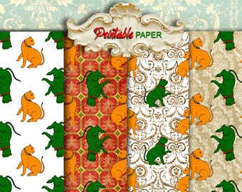 CATs - 4 SHEETs Printable wrapping paper for Scrapbooking, Creat - Download and Print