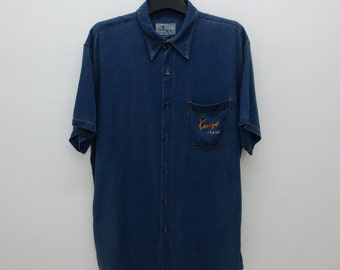 Kenzo Shirt Vintage Kenzo Jeans Button Down Casual Shirt Made in Japan Mens Size L
