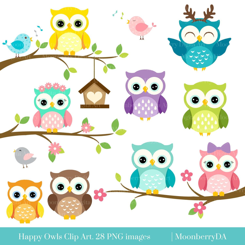 Happy Owls Clip Art Digital Owls Clipart Cute Owls Clipart